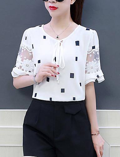 billige Topper til damer-Puffermer Løstsittende T-skjorte / Bluse Dame - Geometrisk, Drapering / Netting / Blondér Grunnleggende / Gatemote Arbeid Svart