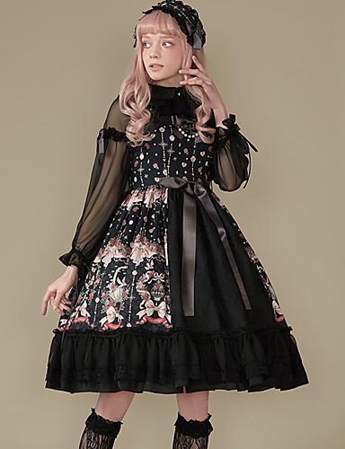 0b572ead310 Sweet Lolita Dress Classic Lolita Dress Vintage Elegant Lace Female Dress  Cosplay Black Sleeveless Sleeveless Midi Costumes