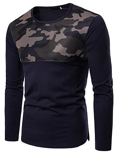 Χαμηλού Κόστους Στρατιωτικό-Ανδρικά T-shirt Βασικό - Βαμβάκι καμουφλάζ Στρογγυλή Λαιμόκοψη Λεπτό Patchwork Λευκό L / Μακρυμάνικο / Φθινόπωρο