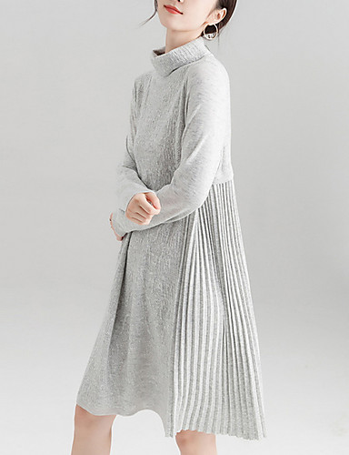 20a4d776f8 Women s Daily Basic Sweater Dress - Solid Colored Turtleneck Black Pink  Light gray M L XL