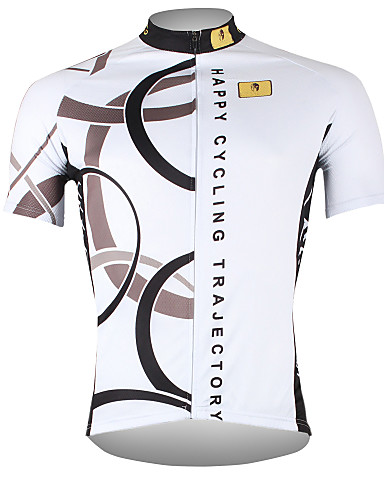 cheap Cycling Jerseys-ILPALADINO Men's Short Sleeve Cycling Jersey - White Bike Jersey Top Breathable Quick Dry Ultraviolet Resistant Sports 100% Polyester Mountain Bike MTB Road Bike Cycling Clothing Apparel