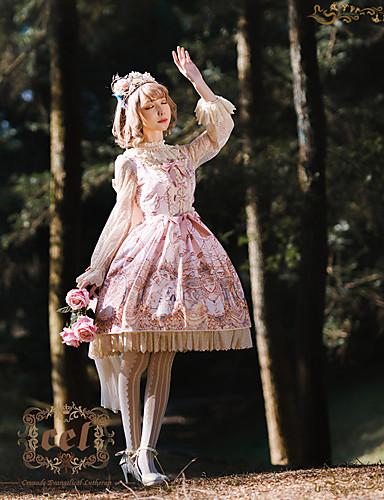 رخيصةأون Lolita فساتين-الحلوه لوليتا لوليتا حلو شيفون نسائي للفتيات فساتين تأثيري أصفر / أخضر / زهري كم مضيئة كم طويل طول الركبة ازياء