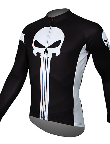 8ba170eaa ILPALADINO Men s Long Sleeve Cycling Jersey - Black Skull Bike Jersey Top  Breathable Quick Dry Ultraviolet Resistant Sports Terylene Mountain Bike MTB  Road ...