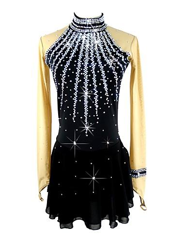 abordables Robe de Patinage-Robe de Patinage Artistique Femme Fille Patinage Robes Noir Spandex Micro-élastique Professionnel Compétition Tenue de Patinage Fait à la main Paillette Manches Longues Patinage Artistique