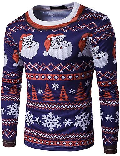 voordelige Heren T-shirts & tanktops-Heren T-shirt Kerstmis Sneeuwvlok Ronde hals Sneeuwvlok Rood / Lange mouw / Herfst / Winter