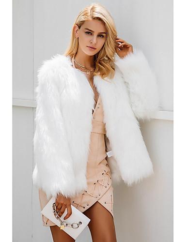 ba14baef9 Women's Going out Regular Fur Coat, Solid Colored V Neck Long Sleeve Faux  Fur Beige / Gray / Khaki XL / XXL / XXXL