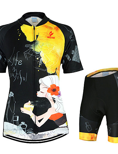 cheap Cycling Clothing-Arsuxeo Women's Short Sleeve Cycling Jersey with Shorts - Black / Yellow Floral Botanical Bike Clothing Suit Breathable Quick Dry Anatomic Design Back Pocket Sports Polyester Elastane Floral Botanical