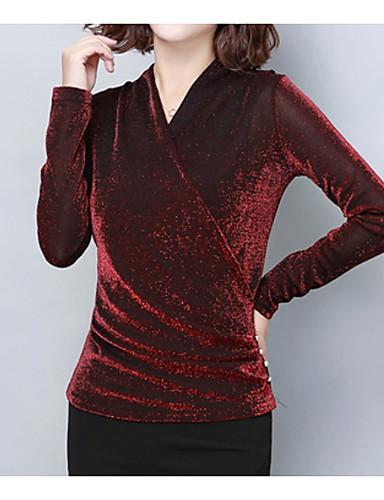abordables Hauts pour Femme-Tee-shirt Femme, Couleur Pleine - Coton Col en V Noir