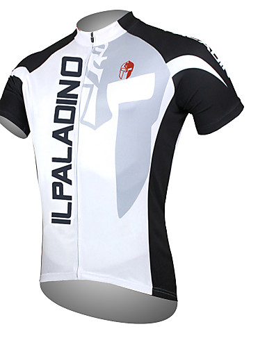 b752cd63c ILPALADINO Men s Short Sleeve Cycling Jersey - White Bike Jersey Top  Breathable Quick Dry Ultraviolet Resistant Sports Polyester 100% Polyester  Mountain ...