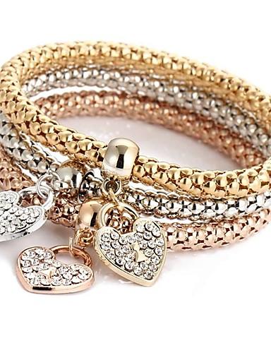 abordables Bracelet Or Rose-3pcs Bracelet Pendentif Parure Bracelet Bracelet Cape Cod Femme Multirang Strass Cœur dames Doux Italien Bracelet Bijoux Or Rose pour Cérémonie Soirée