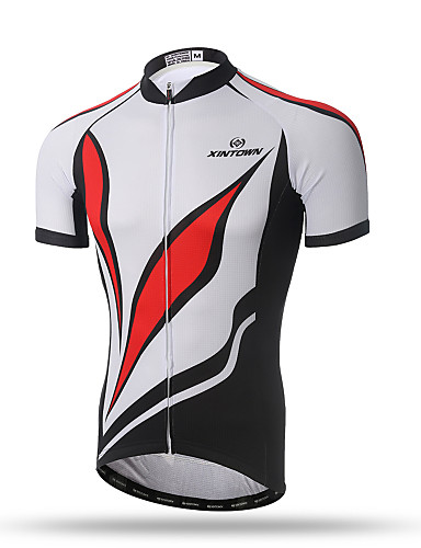 cheap Cycling Clothing-XINTOWN Men's Short Sleeve Cycling Jersey - Red / White Bike Top Breathable Quick Dry Back Pocket Sports Terylene Mountain Bike MTB Road Bike Cycling Clothing Apparel / Stretchy / Sweat-wicking