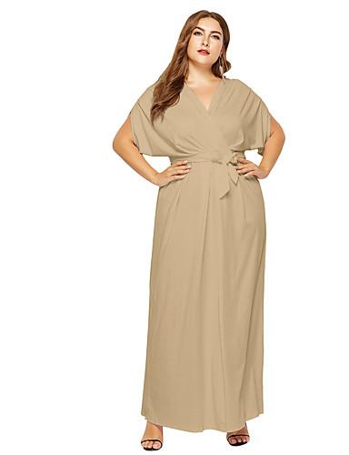 voordelige Grote maten jurken-Dames Grote maten Street chic Schede Jurk Diepe V-hals Maxi / Sexy