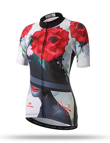 cheap Cycling Clothing-XINTOWN Women's Short Sleeve Cycling Jersey - White / Black / Red Floral / Botanical Plus Size Bike Top Breathable Quick Dry Back Pocket Sports Terylene Mountain Bike MTB Road Bike Cycling Clothing