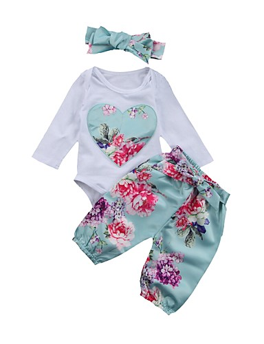 cheap 6/18-Baby Girls' Basic Daily Blue & White Floral Embroidered / Print Long Sleeve Long Regular Cotton Clothing Set White / Toddler