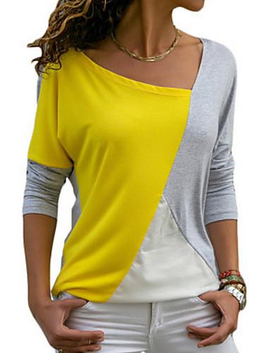 povoljno Ženske majice-Majica s rukavima Žene Dnevno Color block Širok kroj Plava