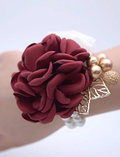 4e01ac72c زهور الزفاف باقة ورد في رسغ زفاف / حفلة الزفاف مطلية بالذهب عيار 18 / حصى  0-10 cm