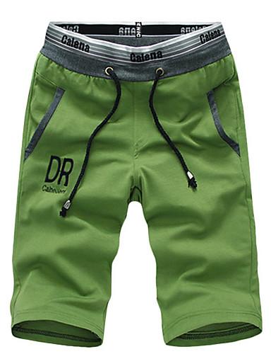 Hombre Chic de Calle Chinos   Shorts Pantalones - Un Color Verde Trébol af43887de4c
