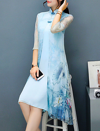 195521d0390 Floral Print Dress Women s Plus Size Party Chinoiserie Sophisticated  Asymmetrical Dress Floral Print Stand Spring Light Blue XL XXL XXXL