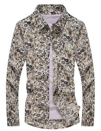 9b1e0ac135b Men s Vintage Plus Size Cotton Slim Shirt - Tribal Print Classic Collar  Beige XXXL   Long Sleeve   Spring   Fall