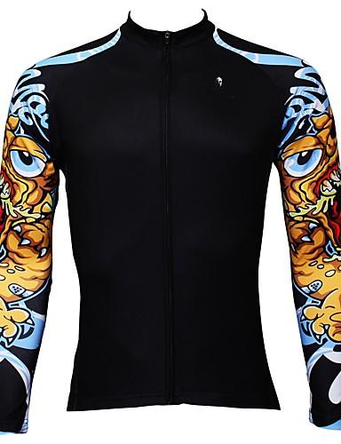 40a5ce0cf ILPALADINO Men s Long Sleeve Cycling Jersey - Black Fashion Bike Jersey Top  Thermal   Warm Fleece Lining Ultraviolet Resistant Sports Winter Elastane  ...