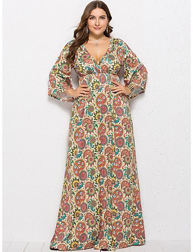 d1cce09df489 Women s Plus Size Daily Beach Street chic Maxi Loose Swing Dress - Floral  Print Deep V Summer Green Orange Light Green XL XXL XXXL   Sexy
