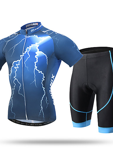 cheap Cycling Clothing-XINTOWN Men's Short Sleeve Cycling Jersey with Shorts - Blue Bike Shorts Jersey Clothing Suit Breathable 3D Pad Quick Dry Ultraviolet Resistant Sweat-wicking Sports Lycra Lightning Mountain Bike MTB
