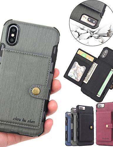 Θήκη Za Apple iPhone XS / iPhone XR / iPhone XS Max Utor za kartice / S magnetom Stražnja maska Jednobojni Tvrdo PU koža