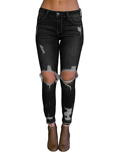 Dam Streetchic Bomull Jeans Byxor - Enfärgad Svart   Arbete 6981080 ... 779ffcf931d8e