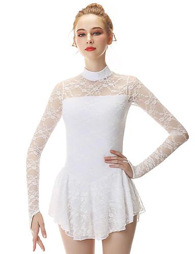 abordables Robe de Patinage-Robe de Patinage Artistique Femme Fille Patinage Robes Blanc Spandex Fil élastique Haute élasticité Professionnel Compétition Tenue de Patinage Mode Manches Longues Patinage Artistique