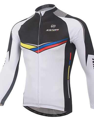 XINTOWN Men s Long Sleeve Cycling Jersey - White Bike Jersey Breathable  Quick Dry Ultraviolet Resistant Winter Sports Elastane Patchwork Mountain Bike  MTB ... 97e342e36