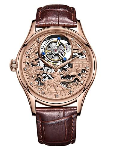 4db2e813bb06 AngelaBOS Hombre Reloj Esqueleto El reloj mecánico Cuerda Manual Acero  Inoxidable Negro   Marrón 30 m