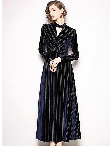3df27baa31d3 Γυναικεία Βασικό Θήκη Φόρεμα - Ριγέ Μακρύ Ψηλή Μέση Λαιμόκοψη V