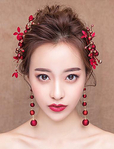 1ec5b027aff7d العروس كلاسيكي تقليدي استايل صيني أغطية الرأس أقراط قطرة اطقم ذهب و مجوهرات  من أجل مباركة عروس حفلة الزفاف نسائي للفتيات مجوهرات