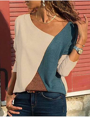 billige Kvinde Toppe-V-hals Dame - Farveblok Basale Plusstørrelser T-shirt Hvid
