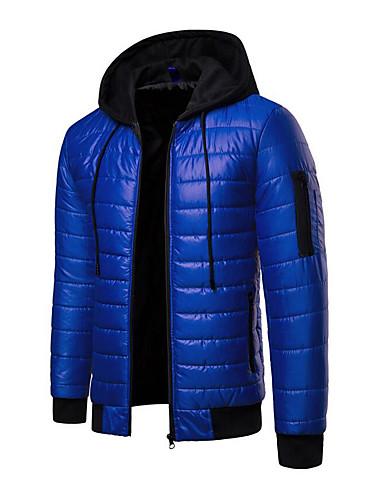 cheap Men's Downs & Parkas-Men's Daily Street chic Color Block Regular Padded, Polyester Long Sleeve Winter Hooded Orange / Red / Royal Blue XL / XXL / XXXL