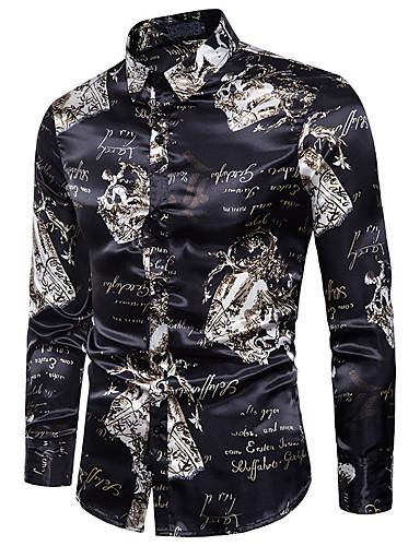 Majica Muškarci - Vintage / Osnovni Dnevno Pamuk Geometrijski oblici Crn / Dugih rukava