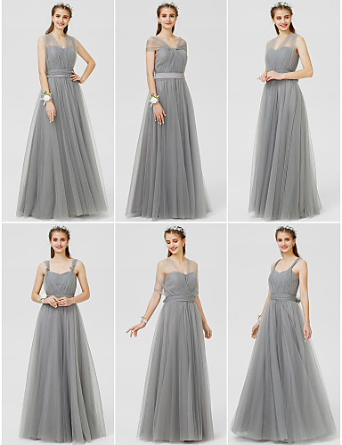 ca6d03db39 A-Line   Ball Gown V Neck Floor Length Tulle Bridesmaid Dress with Bow(s)    Sash   Ribbon   Ruched by LAN TING BRIDE®   Convertible Dress