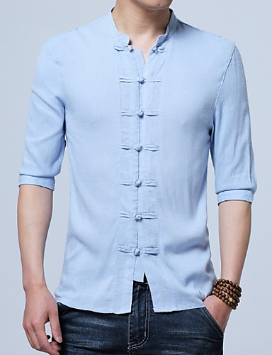cheap Men's Tops-Men's Chinoiserie Plus Size Cotton / Linen Shirt - Solid Colored Standing Collar / Spring / Fall