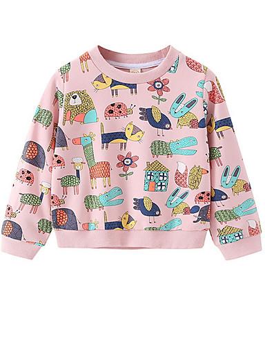 赤ちゃん 女の子 活発的 日常 プリント 長袖 レギュラー フーディーズ&スウェットシャツ ピンク / 幼児