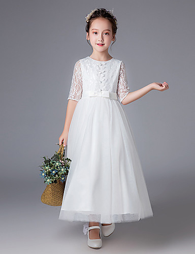 e410bd609 Princess Ankle Length Flower Girl Dress - Polyester Half Sleeve Jewel Neck  with Lace by LAN TING Express