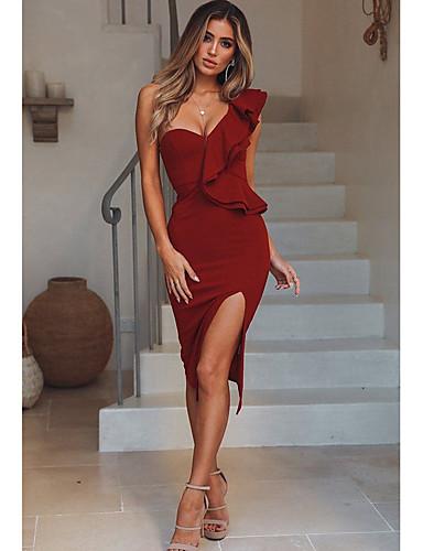 abordables Robes Femme-Femme Mi-long Mince Gaine Robe - A Basque, Couleur Pleine Une Epaule Vert Noir Vin M L XL Sans Manches / Sexy