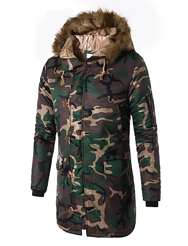 cheap Fur Trims-Men's Daily Basic Geometric / Camouflage Long Padded, Polyester Long Sleeve Hooded Navy Blue / Army Green XL / XXL / XXXL