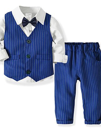 Djeca Dijete koje je tek prohodalo Dječaci Aktivan Osnovni Party Dnevno Jednobojni Prugasti uzorak Dugih rukava Regularna Normalne dužine Pamuk Komplet odjeće Plava