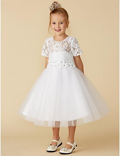 Πριγκίπισσα Κάτω από το γόνατο Φόρεμα για Κοριτσάκι Λουλουδιών - Δαντέλα    Τούλι Κοντομάνικο Με Κόσμημα με Δαντέλα με LAN TING BRIDE® a1e6b4a689b
