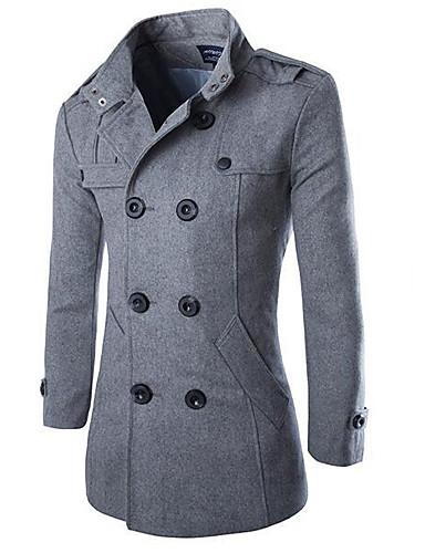 Men's Daily Basic Plus Size Long Coat, Solid Colored Turndown Long Sleeve Polyester Black / Dark Gray / Light gray XXL / XXXL / 4XL
