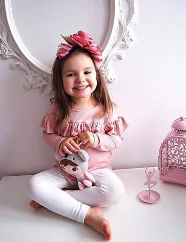 Dijete koje je tek prohodalo Djevojčice Aktivan Dnevno Rukav leptir Jednobojni Mašna Dugih rukava Regularna Normalne dužine Pamuk Komplet odjeće Blushing Pink