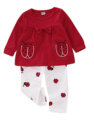 赤ちゃん 女の子 活発的 日常 プリント 長袖 レギュラー アンサンブル ルビーレッド / 幼児