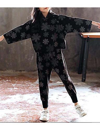 Djeca Djevojčice Osnovni Dnevno Jednobojni Dugih rukava Pamuk Komplet odjeće Crn