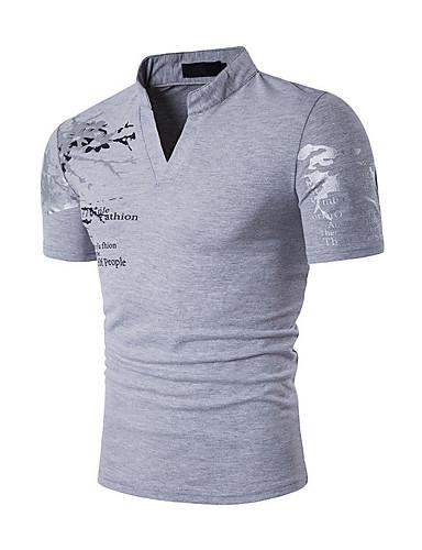 2131975c46ac Ανδρικά T-shirt Αθλητικά Ενεργό   Μπόχο - Βαμβάκι Γεωμετρικό Όρθιος Γιακάς  Λεπτό Στάμπα Μαύρο L   Κοντομάνικο   Καλοκαίρι