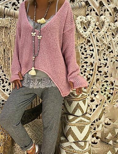 abordables Hauts pour Femmes-Femme Quotidien Oversize Couleur Pleine Manches Longues Normal Pullover Rose Claire / Beige / Gris XXXL / XXXXL / XXXXXL